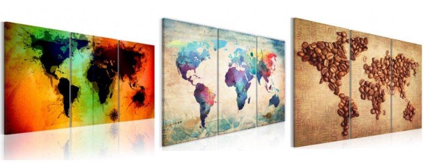 Kuvat mailman kartoista, erilaiset modernit kartta Sisustustaulut, Canvas printtitaulut.  Ilmainen toimitus