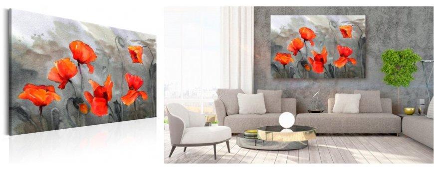 Sisustustaulut Unikko kukista, erilaiset modernit ja klassiset Unikkokukka Sisustustaulut, Canvas printtitaulut