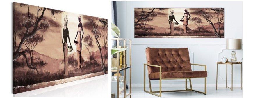Kuvat ja maalaukset kylien Afrikasta, erilaiset ihmiset aiheena, klassiset Afrikka Sisustustaulut, Canvas printtitaulut